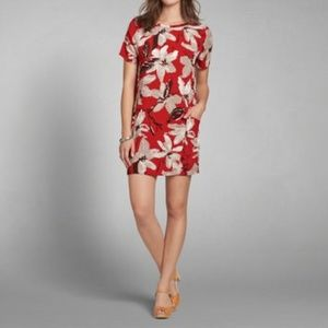 Abercrombie and Fitch Red Floral  Shift Dress